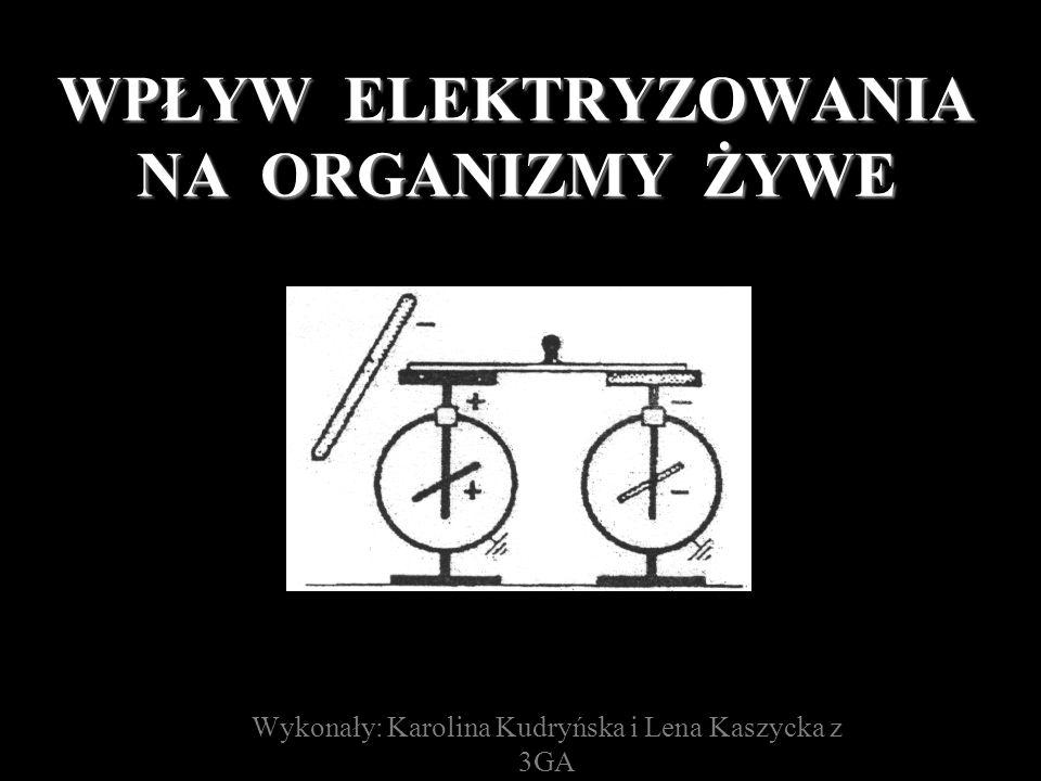 WPŁYW ELEKTRYZOWANIA NA ORGANIZMY ŻYWE Wykonały: Karolina Kudryńska i Lena Kaszycka z 3GA