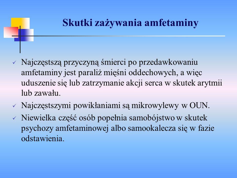 Skutki zażywania amfetaminy Najczęstszą przyczyną śmierci po przedawkowaniu amfetaminy jest paraliż mięśni oddechowych, a więc uduszenie się lub zatrz