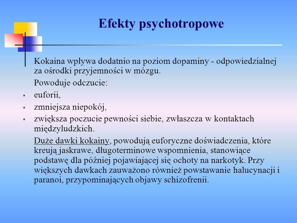 Efekty psychotropowe Kokaina wpływa dodatnio na poziom dopaminy - odpowiedzialnej za ośrodki przyjemności w mózgu. Powoduje odczucie: euforii, zmniejs