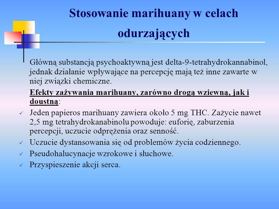 Działanie kokainy Kokaina hamuje wychwyt dopaminy, co jest powodem: W mniejszych dawkach - pobudzenie psychoruchowe, uczucie euforii, omamy W większych - depresja ośrodka oddechowego w pniu mózgu, pobudzenie receptorów β na obwodzie, co wywołuje: wzrost ciśnienia tętniczego i zaburzenia rytmu serca, co prowadzi w efekcie do takich chorób jak: miażdżyca, choroba wieńcowa, niewydolność mięśnia sercowego, nadczynność tarczycy.