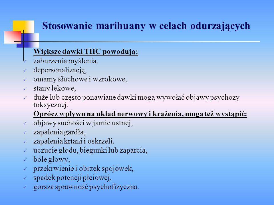 Stosowanie marihuany w celach odurzających Większe dawki THC powodują: zaburzenia myślenia, depersonalizację, omamy słuchowe i wzrokowe, stany lękowe,