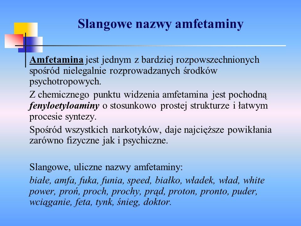 Slangowe nazwy amfetaminy Amfetamina jest jednym z bardziej rozpowszechnionych spośród nielegalnie rozprowadzanych środków psychotropowych. Z chemiczn