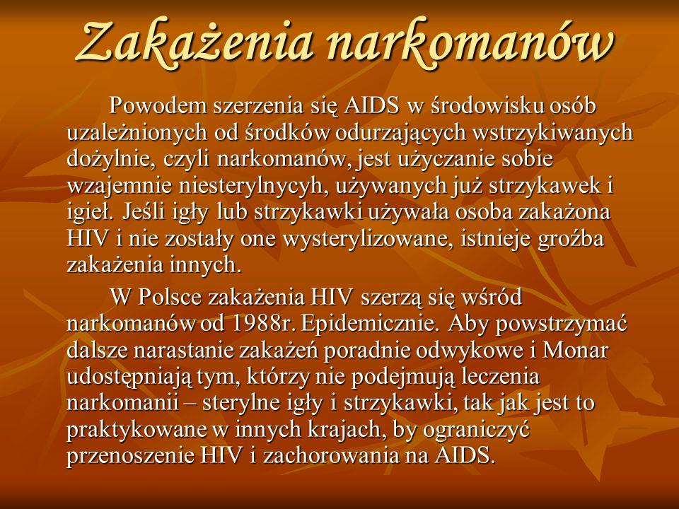 Zakażenia narkomanów Powodem szerzenia się AIDS w środowisku osób uzależnionych od środków odurzających wstrzykiwanych dożylnie, czyli narkomanów, jest użyczanie sobie wzajemnie niesterylnycyh, używanych już strzykawek i igieł.