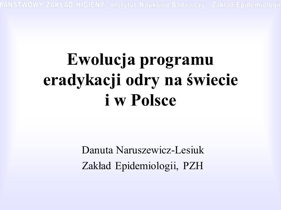 Ewolucja programu eradykacji odry na świecie i w Polsce Danuta Naruszewicz-Lesiuk Zakład Epidemiologii, PZH