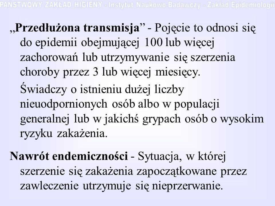Przedłużona transmisja - Pojęcie to odnosi się do epidemii obejmującej 100 lub więcej zachorowań lub utrzymywanie się szerzenia choroby przez 3 lub wi