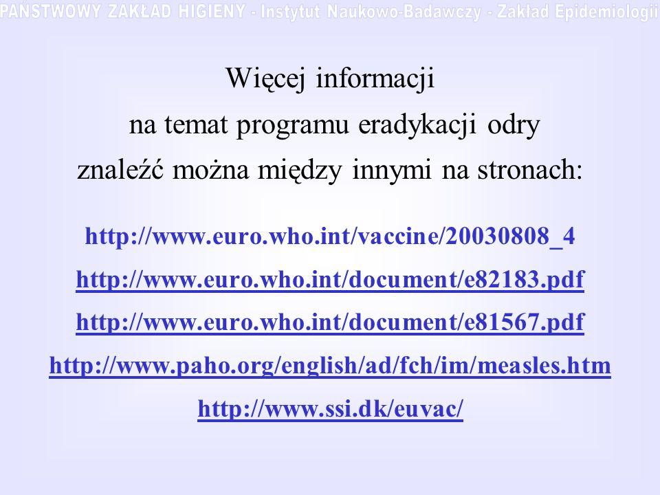 Więcej informacji na temat programu eradykacji odry znaleźć można między innymi na stronach: http://www.euro.who.int/vaccine/20030808_4 http://www.eur