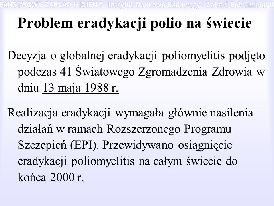 Problem eradykacji polio na świecie Decyzja o globalnej eradykacji poliomyelitis podjęto podczas 41 Światowego Zgromadzenia Zdrowia w dniu 13 maja 198