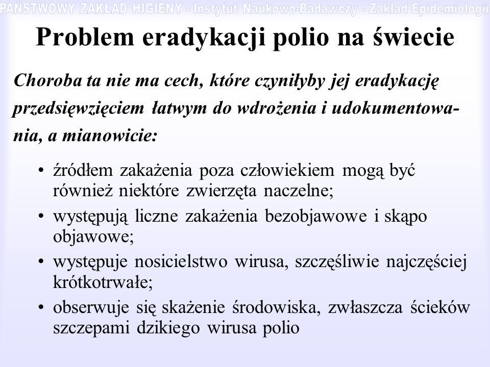 Problem eradykacji polio na świecie Choroba ta nie ma cech, które czyniłyby jej eradykację przedsięwzięciem łatwym do wdrożenia i udokumentowa- nia, a