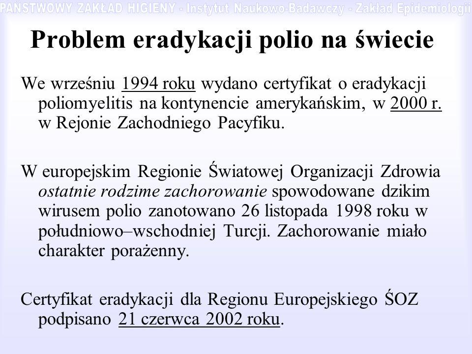 Problem eradykacji polio na świecie We wrześniu 1994 roku wydano certyfikat o eradykacji poliomyelitis na kontynencie amerykańskim, w 2000 r. w Rejoni