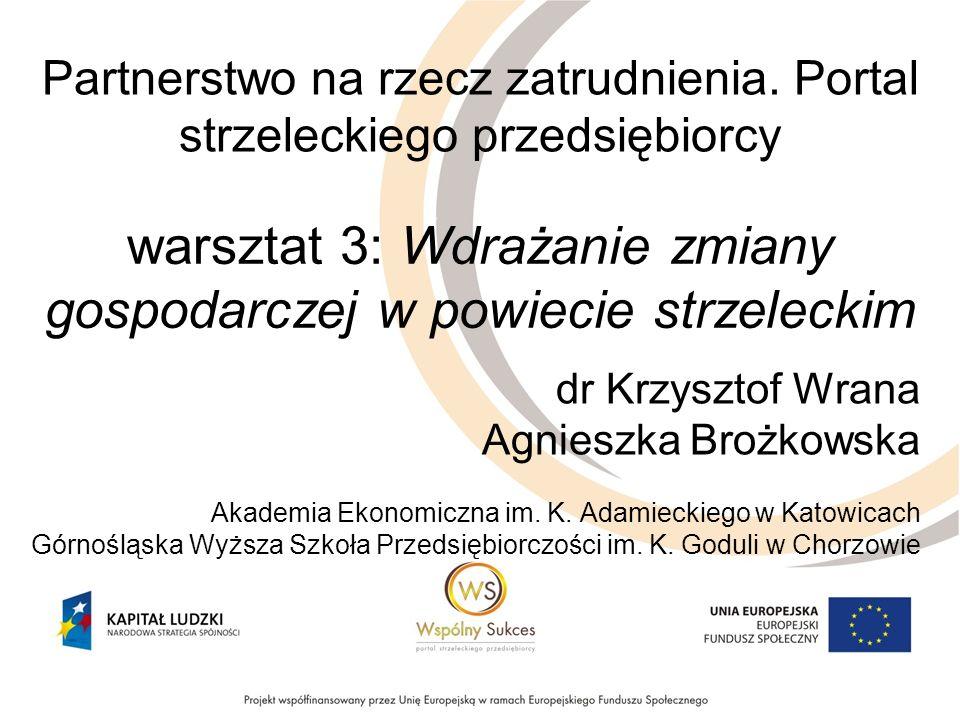 warsztat 3: Wdrażanie zmiany gospodarczej w powiecie strzeleckim dr Krzysztof Wrana Agnieszka Brożkowska Akademia Ekonomiczna im.