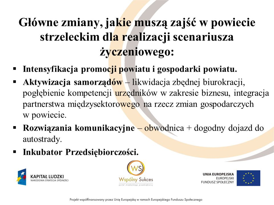 Główne zmiany, jakie muszą zajść w powiecie strzeleckim dla realizacji scenariusza życzeniowego: Intensyfikacja promocji powiatu i gospodarki powiatu.