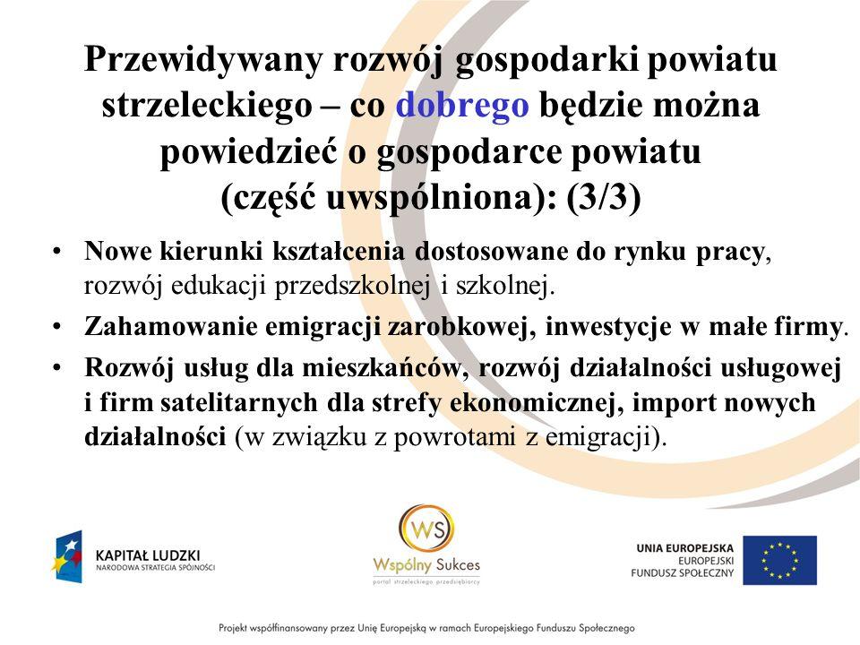 Przewidywany rozwój gospodarki powiatu strzeleckiego – co dobrego będzie można powiedzieć o gospodarce powiatu (część uwspólniona): (3/3) Nowe kierunki kształcenia dostosowane do rynku pracy, rozwój edukacji przedszkolnej i szkolnej.