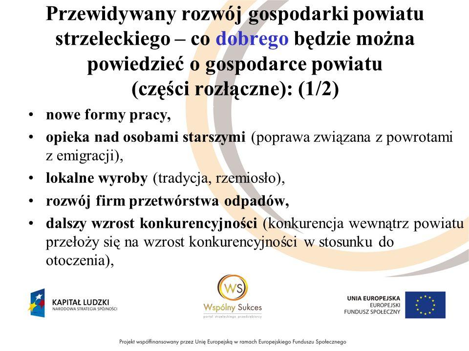 Przewidywany rozwój gospodarki powiatu strzeleckiego – co dobrego będzie można powiedzieć o gospodarce powiatu (części rozłączne): (2/2) większa podaż środków unijnych i lepsze ich wykorzystanie, wzrost kooperacji-współpracy przedsiębiorstw powiatu (w realizacji dużych zadań inwestycyjnych), dwie strefy ekonomiczne, prywatna służba zdrowia (finansowana z NFZ), nowi inwestorzy, wzrost ilości miejsc pracy, rozwój usług outsourcingowych.