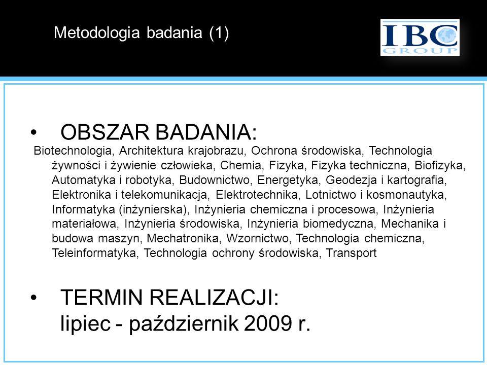 OBSZAR BADANIA: 27 kierunków technicznych, matematycznych i przyrodniczych realizowanych na uczelniach wyższych w Polsce; TERMIN REALIZACJI: lipiec -