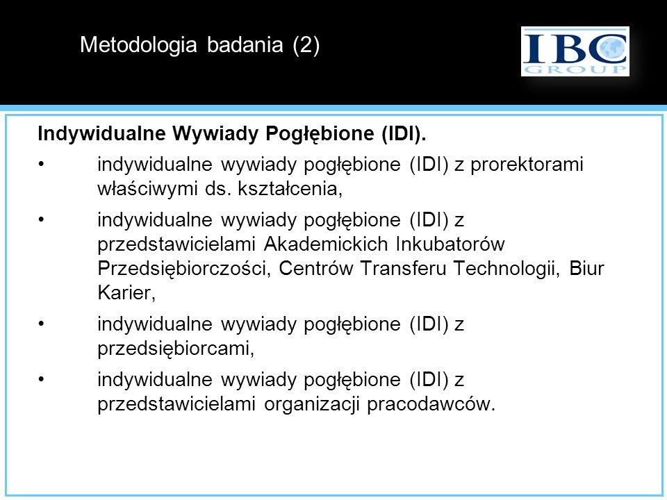 Indywidualne Wywiady Pogłębione (IDI). indywidualne wywiady pogłębione (IDI) z prorektorami właściwymi ds. kształcenia, indywidualne wywiady pogłębion