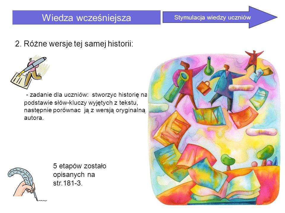 Wiedza wcześniejsza 2. Różne wersje tej samej historii: - zadanie dla uczniów: stworzyc historię na podstawie słów-kluczy wyjętych z tekstu, następnie