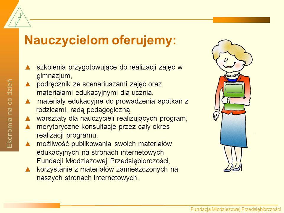 Fundacja Młodzieżowej Przedsiębiorczości Ekonomia na co dzień Fundacja Młodzieżowej Przedsiębiorczości Ekonomia na co dzień Przewodnik dla nauczyciela Program obejmuje następujące obszary: Elementarne pojęcia ekonomiczne np.
