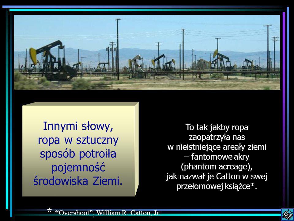 Innymi słowy, ropa w sztuczny sposób potroiła pojemność środowiska Ziemi. To tak jakby ropa zaopatrzyła nas w nieistniejące areały ziemi – fantomowe a