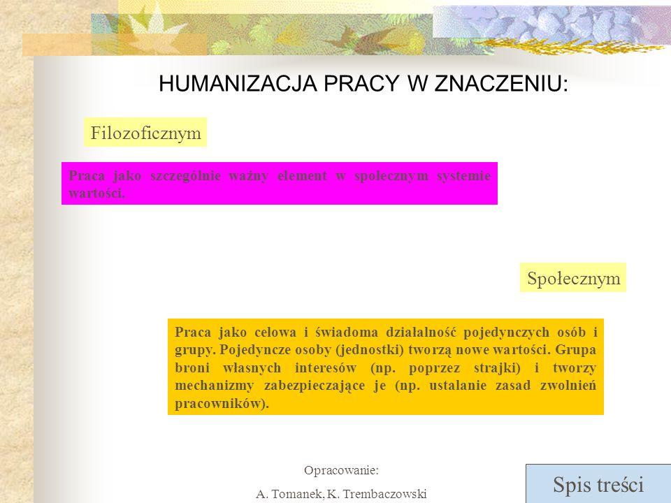Spis treści Opracowanie: A. Tomanek, K. Trembaczowski HUMANIZACJA PRACY W ZNACZENIU: Filozoficznym Praca jako szczególnie ważny element w społecznym s