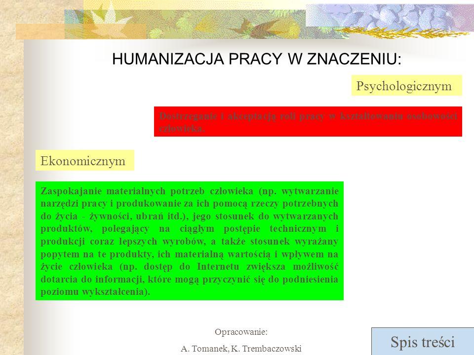 Spis treści Opracowanie: A.Tomanek, K.