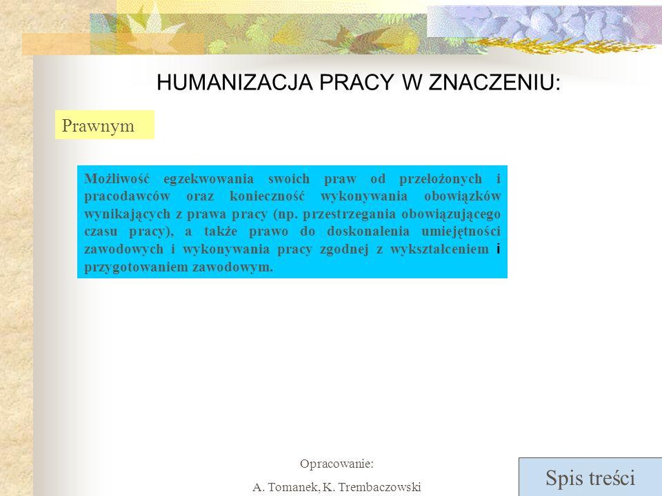 Spis treści Opracowanie: A. Tomanek, K. Trembaczowski HUMANIZACJA PRACY W ZNACZENIU: Prawnym Możliwość egzekwowania swoich praw od przełożonych i prac