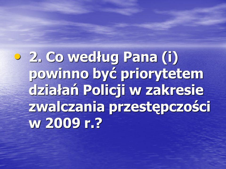 2. Co według Pana (i) powinno być priorytetem działań Policji w zakresie zwalczania przestępczości w 2009 r.? 2. Co według Pana (i) powinno być priory