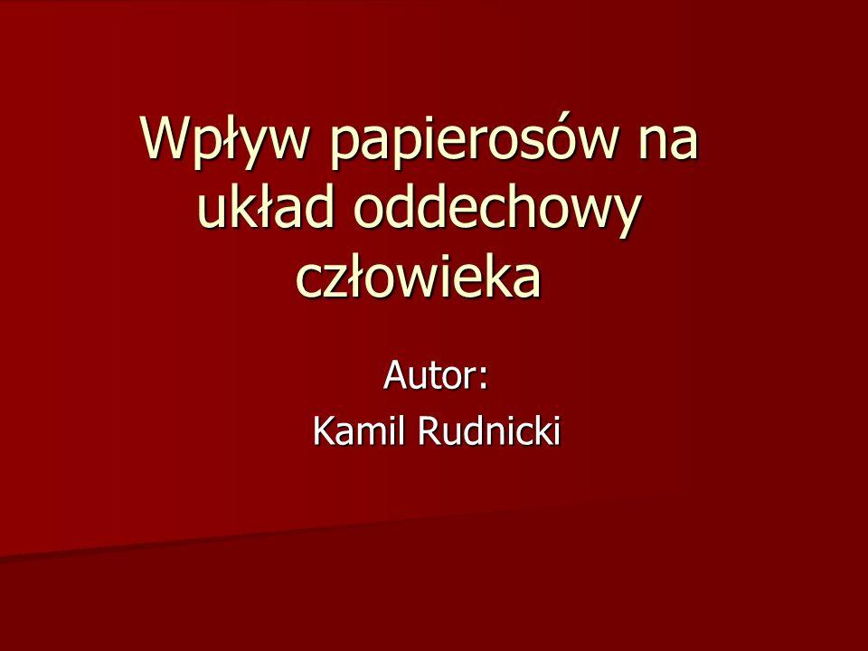 Wpływ papierosów na układ oddechowy człowieka Autor: Kamil Rudnicki