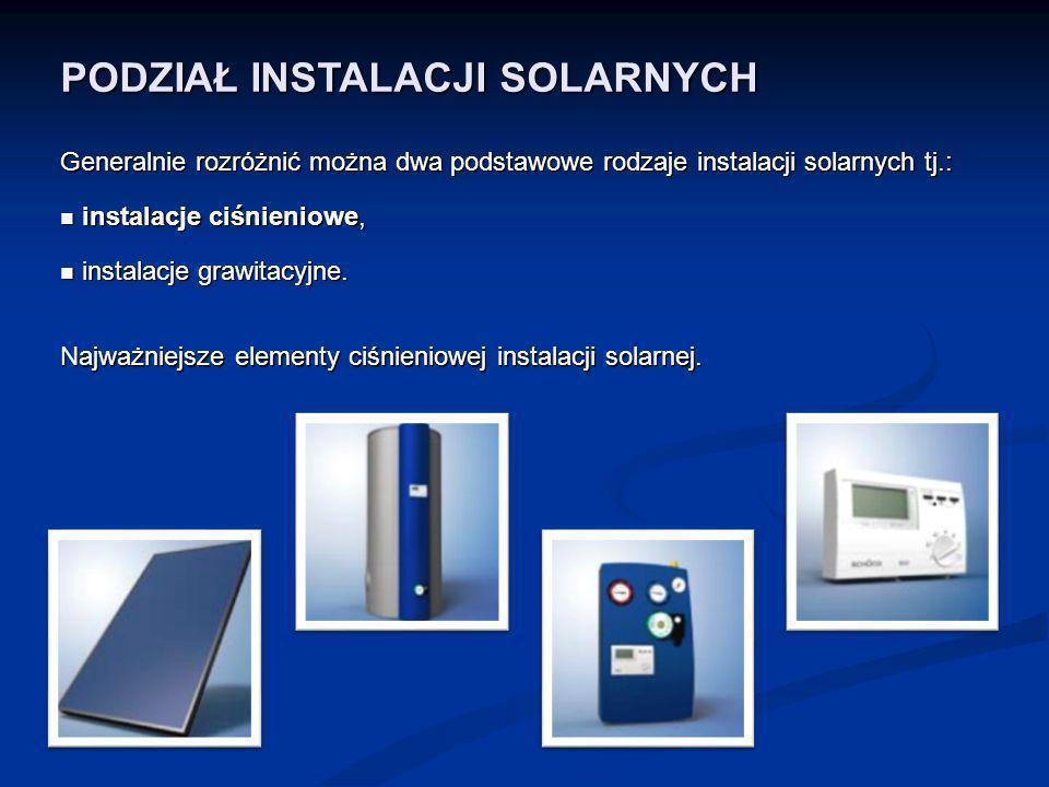 PODZIAŁ INSTALACJI SOLARNYCH Generalnie rozróżnić można dwa podstawowe rodzaje instalacji solarnych tj.: instalacje ciśnieniowe, instalacje ciśnieniow