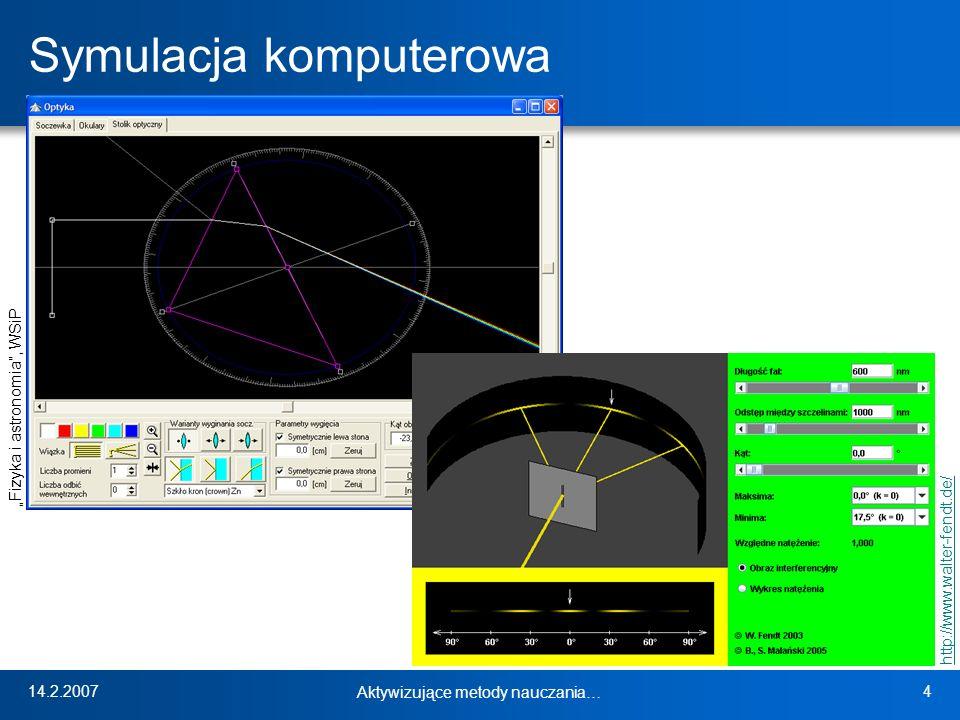14.2.2007 Aktywizujące metody nauczania… 4 Symulacja komputerowa http://www.walter-fendt.de/ Fizyka i astronomia, WSiP