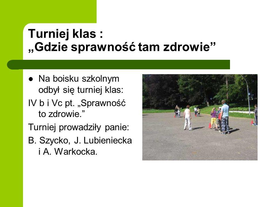 Turniej klas : Gdzie sprawność tam zdrowie Na boisku szkolnym odbył się turniej klas: IV b i Vc pt.