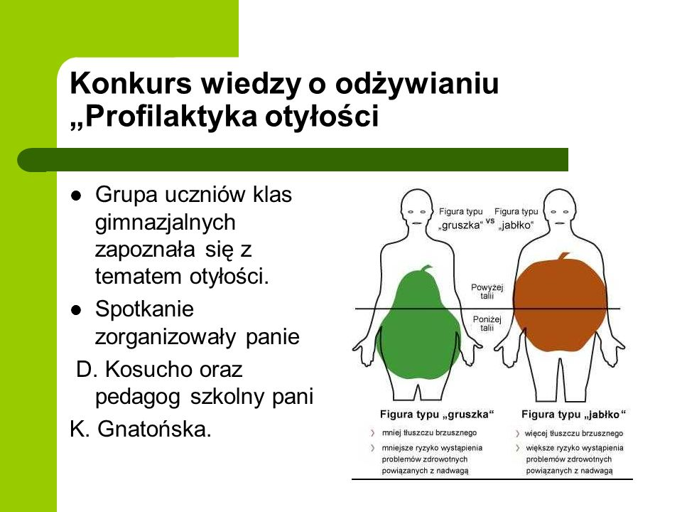 Konkurs wiedzy o odżywianiu Profilaktyka otyłości Grupa uczniów klas gimnazjalnych zapoznała się z tematem otyłości. Spotkanie zorganizowały panie D.