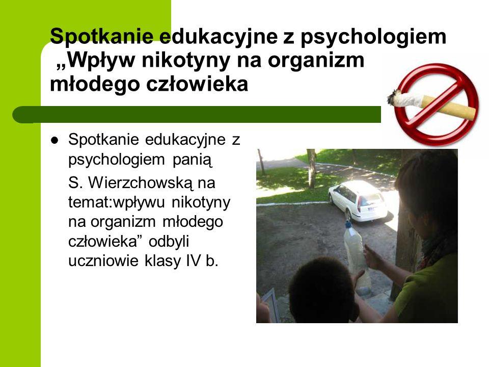 Spotkanie edukacyjne z psychologiem Wpływ nikotyny na organizm młodego człowieka Spotkanie edukacyjne z psychologiem panią S. Wierzchowską na temat:wp