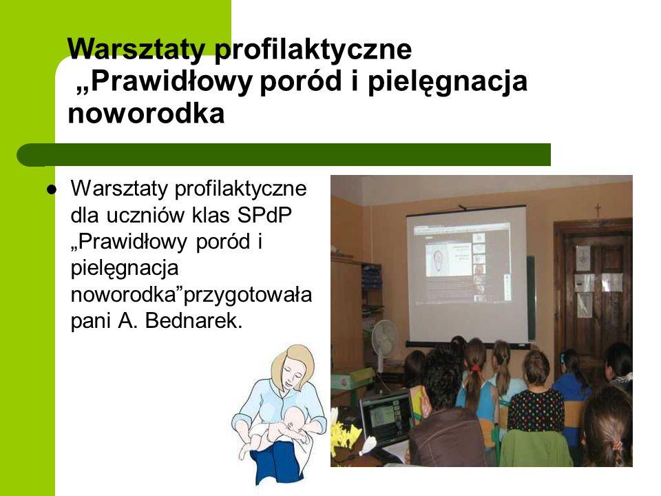Warsztaty profilaktyczne Prawidłowy poród i pielęgnacja noworodka Warsztaty profilaktyczne dla uczniów klas SPdP Prawidłowy poród i pielęgnacja noworo