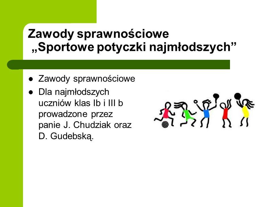 Zawody sprawnościowe Sportowe potyczki najmłodszych Zawody sprawnościowe Dla najmłodszych uczniów klas Ib i III b prowadzone przez panie J. Chudziak o