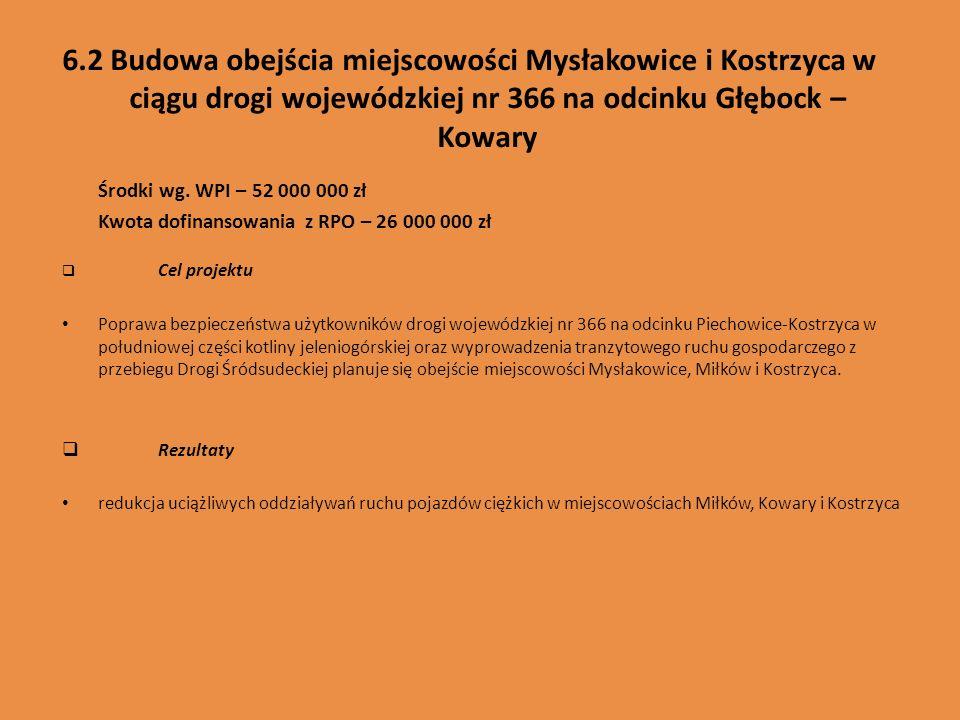 6.2 Budowa obejścia miejscowości Mysłakowice i Kostrzyca w ciągu drogi wojewódzkiej nr 366 na odcinku Głębock – Kowary Środki wg. WPI – 52 000 000 zł