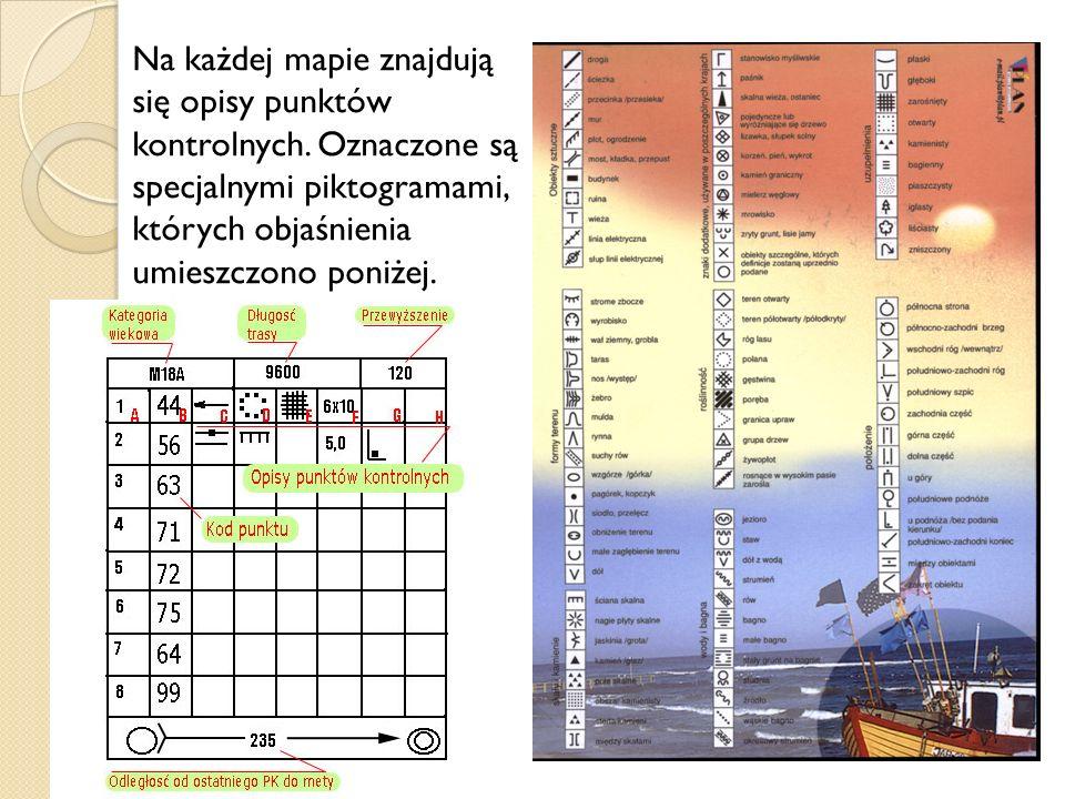 Na każdej mapie znajdują się opisy punktów kontrolnych. Oznaczone są specjalnymi piktogramami, których objaśnienia umieszczono poniżej.