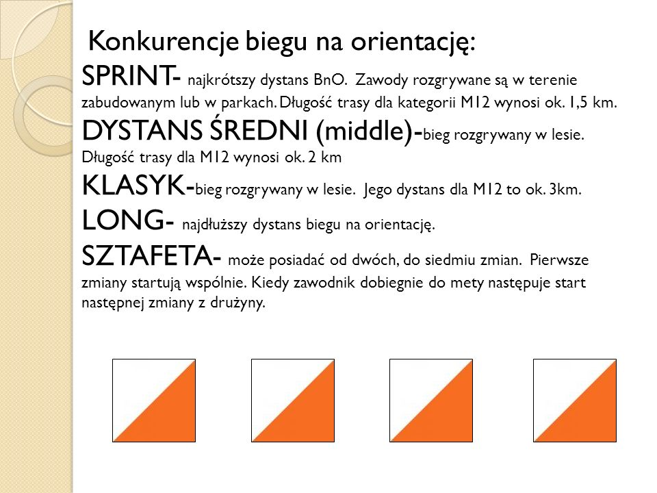 Konkurencje biegu na orientację: SPRINT- najkrótszy dystans BnO. Zawody rozgrywane są w terenie zabudowanym lub w parkach. Długość trasy dla kategorii