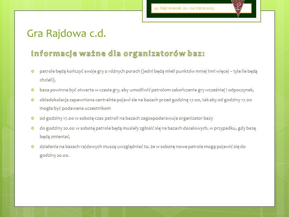 Gra Rajdowa c.d. 43. Rajd Arsenał, 22 – 24 marca 2013