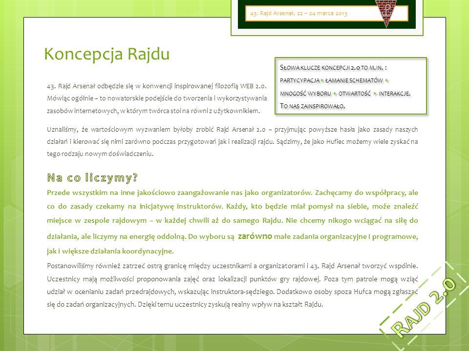 Koncepcja Rajdu 43. Rajd Arsenał odbędzie się w konwencji inspirowanej filozofią WEB 2.0.