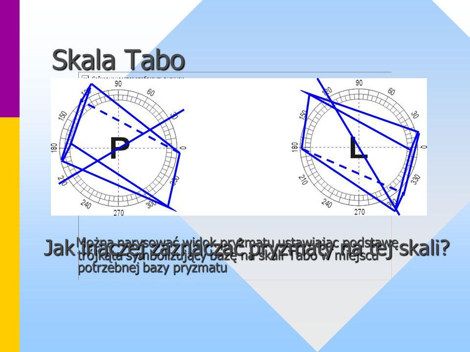 Skala Tabo Można narysować widok pryzmatu ustawiając podstawę trójkąta symbolizujący bazę na skali Tabo w miejscu potrzebnej bazy pryzmatu Można narysować widok pryzmatu ustawiając podstawę trójkąta symbolizujący bazę na skali Tabo w miejscu potrzebnej bazy pryzmatu Jak inaczej zaznaczać pryzmaty na tej skali?