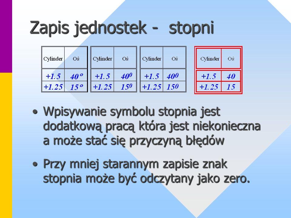 Zapis jednostek - stopni Wpisywanie symbolu stopnia jest dodatkową pracą która jest niekonieczna a może stać się przyczyną błędówWpisywanie symbolu stopnia jest dodatkową pracą która jest niekonieczna a może stać się przyczyną błędów Przy mniej starannym zapisie znak stopnia może być odczytany jako zero.Przy mniej starannym zapisie znak stopnia może być odczytany jako zero.