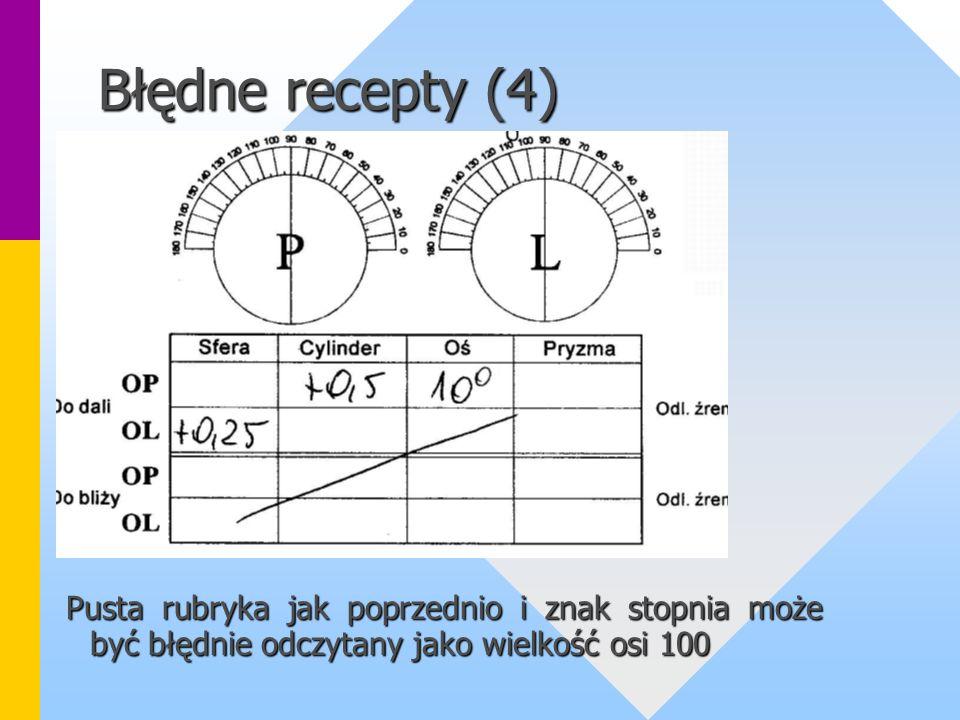 Błędne recepty (4) Pusta rubryka jak poprzednio i znak stopnia może być błędnie odczytany jako wielkość osi 100