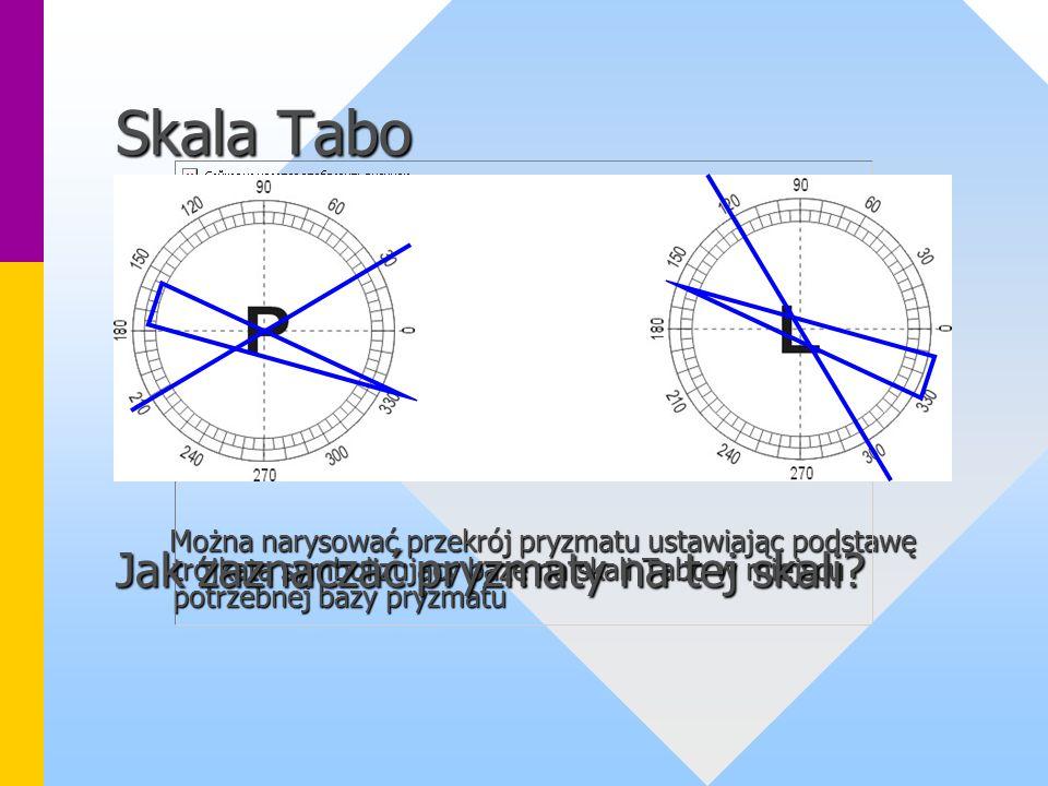 Skala Tabo Można narysować przekrój pryzmatu ustawiając podstawę trójkąta symbolizujący bazę na skali Tabo w miejscu potrzebnej bazy pryzmatu Można narysować przekrój pryzmatu ustawiając podstawę trójkąta symbolizujący bazę na skali Tabo w miejscu potrzebnej bazy pryzmatu Jak zaznaczać pryzmaty na tej skali?