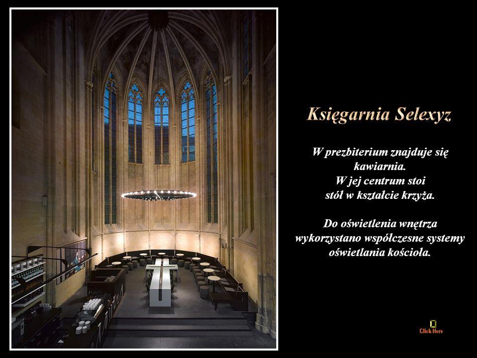 W prezbiterium znajduje się kawiarnia.W jej centrum stoi stół w kształcie krzyża.