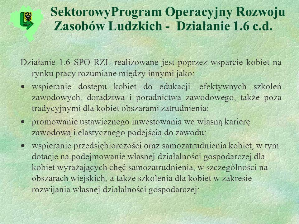 SektorowyProgram Operacyjny Rozwoju Zasobów Ludzkich - Działanie 1.6 c.d.