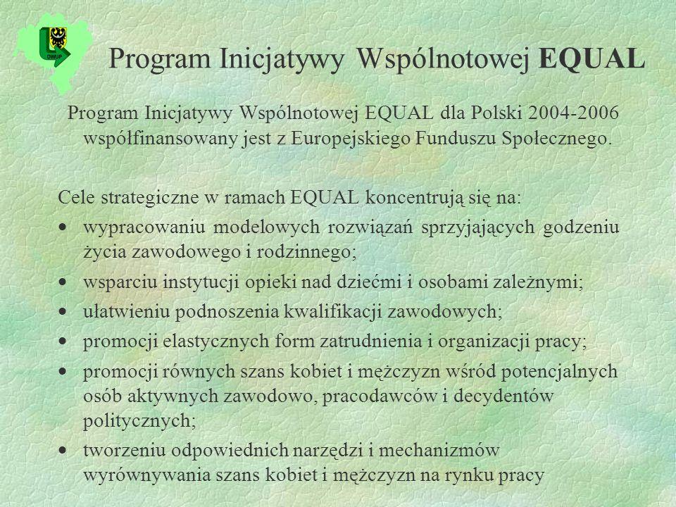 Program Inicjatywy Wspólnotowej EQUAL Program Inicjatywy Wspólnotowej EQUAL dla Polski 2004-2006 współfinansowany jest z Europejskiego Funduszu Społecznego.