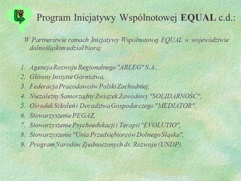 Program Inicjatywy Wspólnotowej EQUAL c.d.: W Partnerstwie ramach Inicjatywy Wspólnotowej EQUAL w województwie dolnośląskim udział biorą: 1.Agencja Rozwoju Regionalnego ARLEG S.A., 2.Główny Instytut Górnictwa, 3.Federacja Pracodawców Polski Zachodniej, 4.Niezależny Samorządny Związek Zawodowy SOLIDARNOŚĆ , 5.Ośrodek Szkoleń i Doradztwa Gospodarczego MEDIATOR , 6.Stowarzyszenie PEGAZ, 7.Stowarzyszenie Psychoedukacji i Terapii EVOLUTIO , 8.Stowarzyszenie Unia Przedsiębiorców Dolnego Śląska , 9.Program Narodów Zjednoczonych ds.