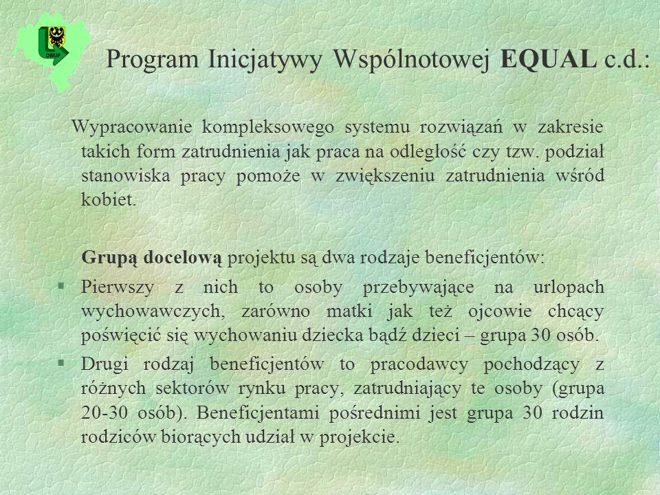 Program Inicjatywy Wspólnotowej EQUAL c.d.: Wypracowanie kompleksowego systemu rozwiązań w zakresie takich form zatrudnienia jak praca na odległość czy tzw.