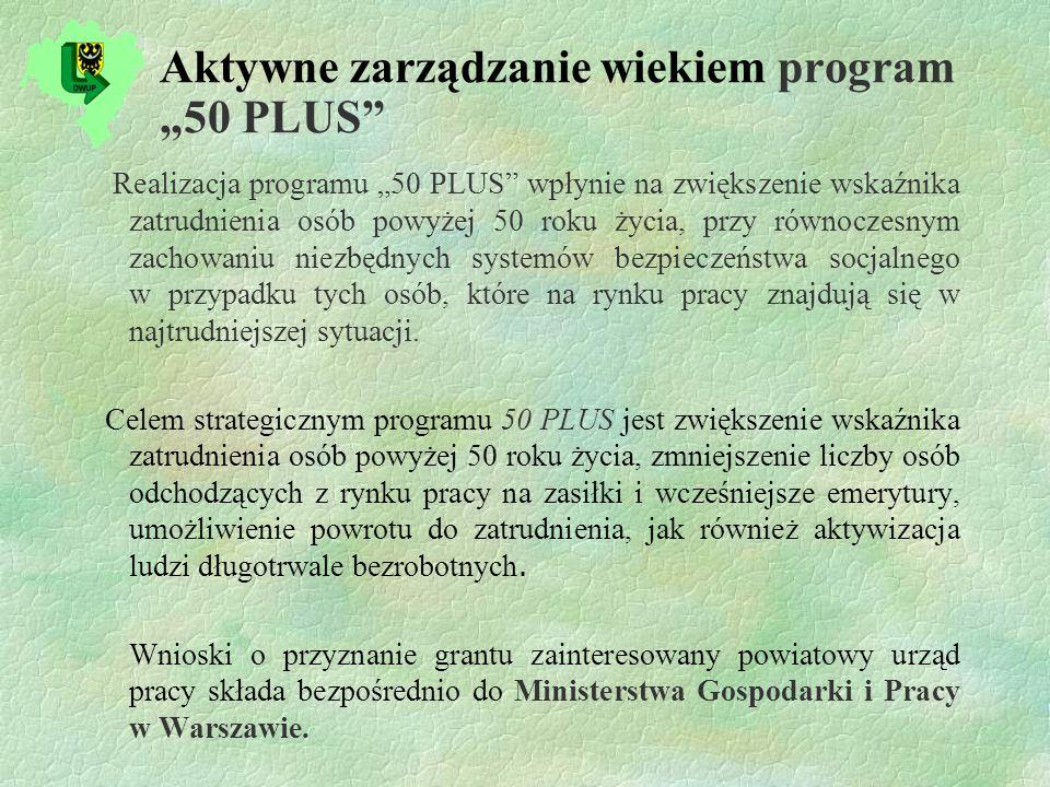 Aktywne zarządzanie wiekiem program 50 PLUS Realizacja programu 50 PLUS wpłynie na zwiększenie wskaźnika zatrudnienia osób powyżej 50 roku życia, przy równoczesnym zachowaniu niezbędnych systemów bezpieczeństwa socjalnego w przypadku tych osób, które na rynku pracy znajdują się w najtrudniejszej sytuacji.