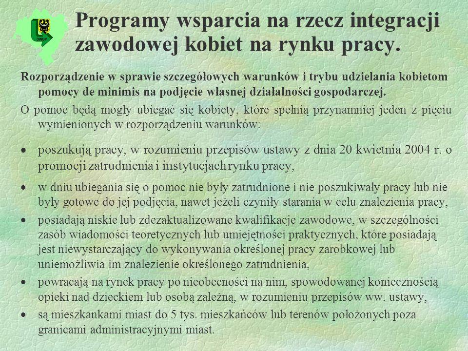 Programy wsparcia na rzecz integracji zawodowej kobiet na rynku pracy.
